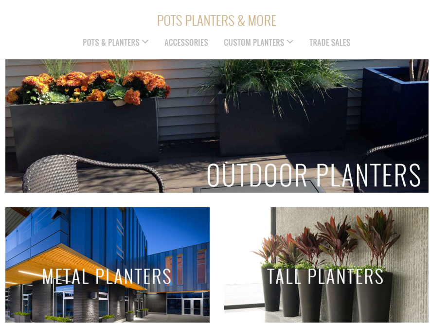 Mẫu website nội thất Pots planters and more